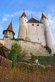 View of Thun Castle at stone stairs in Swiss Stock Photography