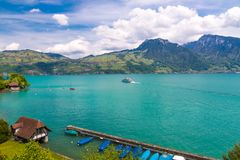 View of Thun lake with cruise ship from Spiez village,  Switzerl Royalty Free Stock Photo