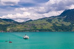 View of Thun lake with cruise ship from Spiez village,  Switzerl Stock Photos
