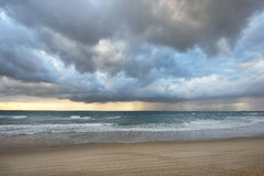 View of thunderstorm clouds above the  sea. Royalty Free Stock Image
