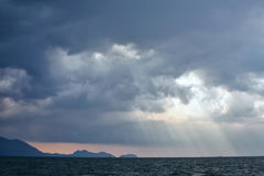 View of thunderstorm clouds above the sea Stock Photography
