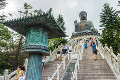 View of Tian Tan Buddha from steps royalty free stock images