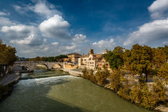 View on Tiber Island and Cestius Bridge, Rome Stock Photos