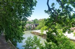 Tiber island - Tevere river - Rome - Italy. View of Tiber island - Tevere river - Rome - Italy royalty free stock photography