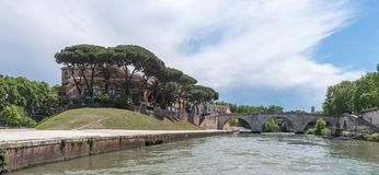 Tiber island - Tevere river - Rome - Italy. View of Tiber island - Tevere river - Rome - Italy stock image
