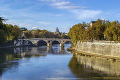 View of the Tiber river, Rome. View of the Tiber river with bridge in Rome, Italy royalty free stock images