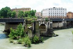 View of Tiber river in Rome city on May 31, 2014 Royalty Free Stock Image