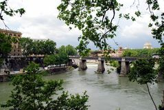 View of Tiber river in Rome city on May 31, 2014 Stock Images