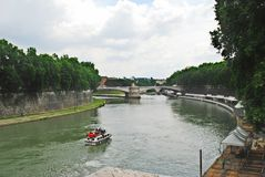 View of Tiber river in Rome city on May 31, 2014 Royalty Free Stock Images