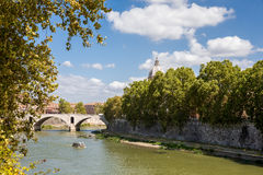 View of Tiber River in Rome Italy Stock Images