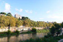 View of the Tiber River in Rome Stock Image