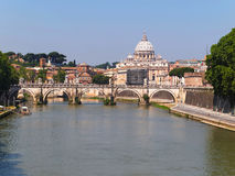View on Tiber River and St Peter Basilica in Rome, Italy Stock Photos