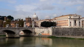 View on Tiber river and St Peter Basilica in Vatican stock video