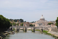 View of the Tiber River and St. Peter's Stock Photo