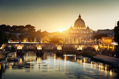 View on Tiber and St Peter Basilica Royalty Free Stock Photo