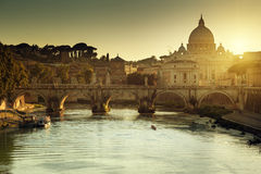 View on Tiber and St Peter Basilica Royalty Free Stock Images