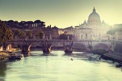 View on Tiber and St Peter Basilica Stock Photos