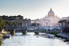 View on Tiber and St Peter Basilica Royalty Free Stock Photography
