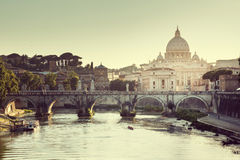 View on Tiber and St Peter Basilica Stock Images
