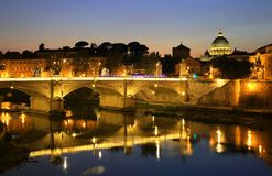 View at Tiber and St. Peter`s cathedral in Rome, Italy Stock Image