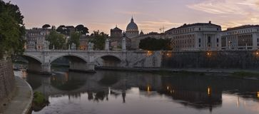 Tiber and St. Peter`s cathedral in Rome, Italy. View at Tiber and St. Peter`s cathedral in Rome, Italy Stock Images