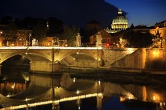 View at Tiber and St. Peter`s cathedral in Rome, Italy.  Stock Images