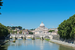 View at Tiber and St. Peter's cathedral in Rome Royalty Free Stock Image