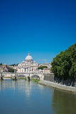 View at Tiber and St. Peter's cathedral in Rome Stock Photography