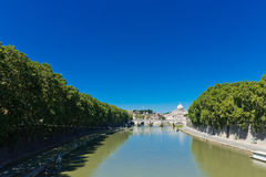 View at Tiber and St. Peter's cathedral in Rome Stock Images