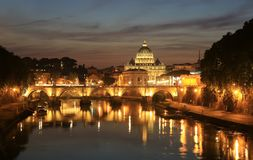 View at Tiber and St. Peter`s cathedral in Rome Stock Photography