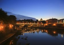 View at Tiber and St. Peter`s cathedral in Rome, Italy.  Stock Photography