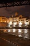 View of tiberina island in rome. Night view of tiberina island from river tevere, roma, italy Royalty Free Stock Photo