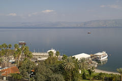 View from Tiberius town to Sea of Galillee. With tourists boats.,Israel Royalty Free Stock Photos