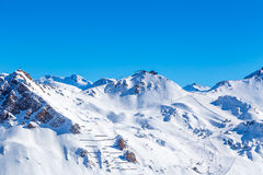 View of the Tignes. Sunset view of the resort Tignes, France Royalty Free Stock Image