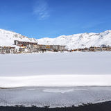 View of Tignes village and lake Stock Photography