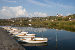 View of Tihany with boats Stock Images