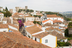View of the tiled roofs in the small Portuguese town Obidos Royalty Free Stock Photos