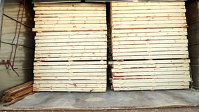 View of timber folded in manufacturing warehouse stock video footage