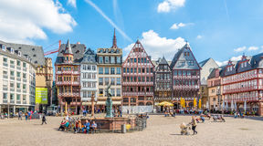 View at the timbered houses at the Romerberg in Frankfurt am Main. FRANKFURT AM MAIN, GERMANY - MARCH 30,2017 - View at the timbered houses at the Romerberg in Stock Photos