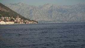 View Time lapse of the mountain landscape with sailing boats in the bay around, Montenegro, Adriatic Sea, Mediterranean stock video