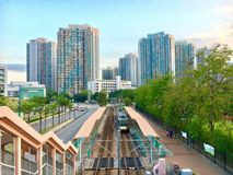 View of Tin Shui Wai, Hong Kong. It was taken in Tin Shui Wai in which is a new town in Hong Kong. You can see the Light Rail Transportation LRT in the town Stock Photos