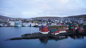 View on Tinganes in Torshavn, Faroe Islands. Early morning photo of the peninsula Tinganes in the smallest capital of the wold, Torshavn on the Faroe Islands Royalty Free Stock Image