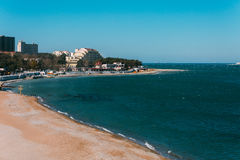 View of the tip of Cape Tolstoy, desert beach, hotels and entertainment in Gelendzhik, Russia Stock Photos