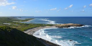 Tip of castle in guadeloupe. View on tip of castle on saint francois in guadeloupe royalty free stock photo