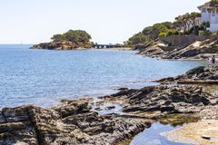 View of the tip of Sortell, Cadaques stock image