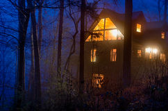 The cabin in the woods. View of tipycal cabin log in the Smoky Mountain National Park area Royalty Free Stock Photo