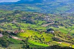 View from Titano mountain at Italian neighborhood Royalty Free Stock Photos