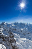 View from Titlis to the South. Beautiful view from the Swiss mountain Titlis towards the South. On the horizon from left to right you can see the moutains Royalty Free Stock Photography