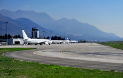 View of Tivat airport in Montenegro Royalty Free Stock Images