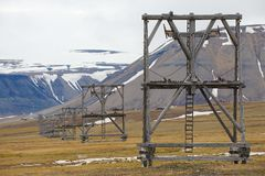 View to the abandoned arctic coal mine equipment in Longyearbyen, Norway. royalty free stock image